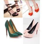 Many different kinds of shoes.